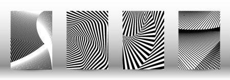 Optical contrast. Set of abstract patterns with distorted lines. Black and white striped psychedelic background. Abstract vector illustration.You can use for design covers, cards,posters.  イラスト・ベクター素材