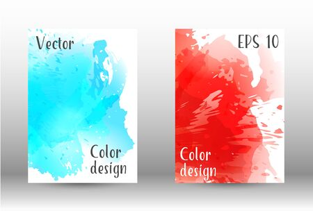 Design cover with a picture of watercolor spray. A set of rectangular objects for the design of a cover, a poster, a banner, a notebook, an album. Vector. EPS 10. Иллюстрация