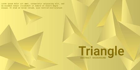 Triangular background. Abstract composition of 3d triangles. Minimal geometric background.  3D vector illustration . Yellow  three-dimensional triangle in space. Illustration