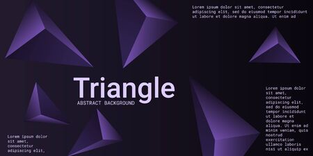 Abstract composition of  triangle. 3D vector illustration . Creative geometric background.  Violet  three-dimensional  geometric triangle in space. Illustration