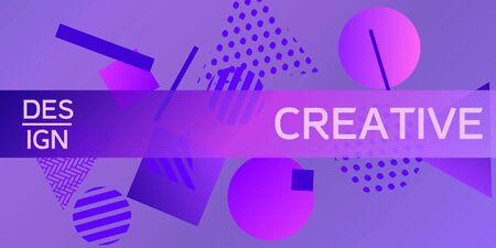 Futuristic retro 3D geometric design.  Minimal universal banner templates in memphis style. Dynamic composition. Vector illustration.