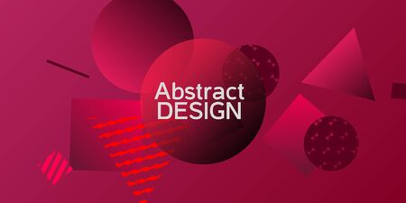 Geometric red abstract background with trendy isometric shapes. Minimal universal banner templates in memphis style. Minimalistic red background design with dynamic shapes. Vector illustration.