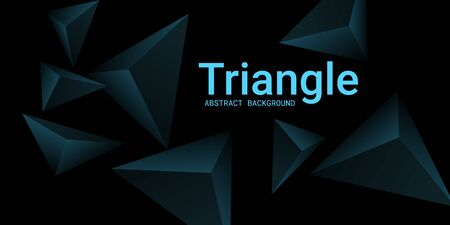 Triangular background. Abstract composition of 3d triangles. 3D vector illustration . Minimal geometric background.  Turquoise  three-dimensional triangle in space. Illustration