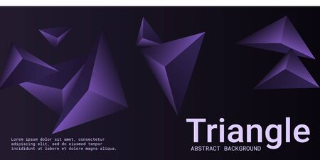 Abstract composition of  triangle. 3D vector illustration . Modern geometric background.  Violet  three-dimensional  geometric triangle in space.