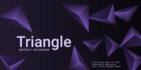 Abstract composition of  triangle. Modern geometric background.  3D vector illustration . Violet  three-dimensional  geometric triangle in space. Illustration
