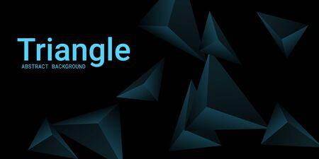 Abstract composition of  triangle. Modern geometric background.  3D vector illustration . Turquoise  three-dimensional  geometric triangle in space. Illustration