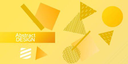 Futuristic retro 3D geometric design.  Minimal universal banner templates in memphis style. Minimalistic yellow background design with dynamic shapes. Vector illustration. Ilustração