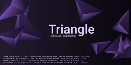 Triangle background. Abstract composition of triangular pyramids. 3D vector illustration . Creative geometric background.  Violet  three-dimensional triangular pyramids in space.