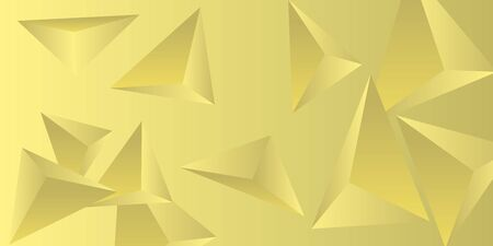 Triangle background. Abstract composition of triangular crystals. Creative geometric background.  3D vector illustration . Yellow  three-dimensional  triangular crystals in space. Illustration