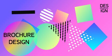 Futuristic retro 3D geometric design.  Minimal universal banner templates in memphis style. Abstract minimalistic background design with dynamic shapes. Vector illustration.