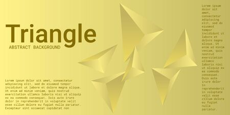 Triangle background. Abstract composition of triangular crystals. 3D vector illustration . Minimal geometric background.  Yellow  three-dimensional  triangular crystals in space.