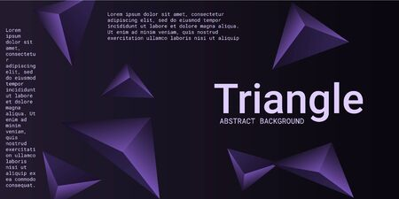 Triangular background. Abstract composition of 3d triangles. 3D vector illustration . Creative geometric background.  Violet  three-dimensional triangle in space.
