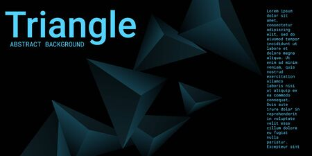Triangular background. Abstract composition of 3d triangles. Creative geometric background.  3D vector illustration . Turquoise  three-dimensional triangle in space.