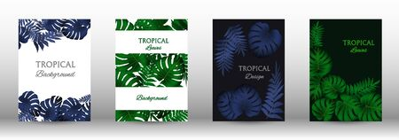 Tropic covers set.  Tropical leaves banners background. Exotic botanical design. Modern Front Page in Vector Çizim