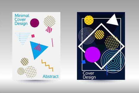 Modello di design moderno. Sfondo astratto nello stile di Memphis. Design geometrico artistico della copertina. Copertina alla moda, banner, poster, libretto. Sfondi di colori creativi. Vettore.