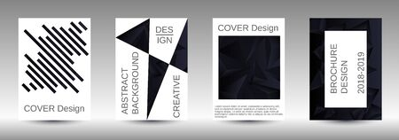 Minimum vector coverage. A set of modern abstract covers. Creative black triangle element vector. Geometric booklet cover template design. Illusztráció