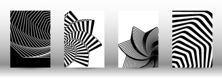 Optical contrast. Set of abstract patterns with distorted lines. Black and white striped psychedelic background. Abstract vector illustration.You can use for design covers, cards,posters. Illusztráció
