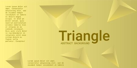 Triangle background. Abstract composition of triangular pyramids. 3D vector illustration . Modern geometric background.  Yellow  three-dimensional triangular pyramids in space.