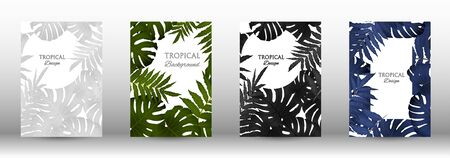 Tropic covers set.  Colorful tropical leaves patterns. Exotic botanical design. Modern Front Page in Vector Çizim