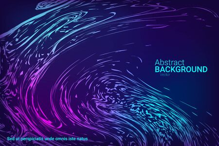 Glowing dynamic fluid particles in a flat style on a dark background.  Abstract template.  Flat design style.  Colorful vector illustration for poster design.