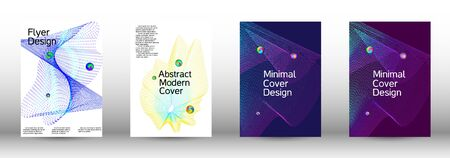 The minimal geometric coverage. Cover design.  A set of modern abstract oblong objects from vector abstract lines. Illusztráció