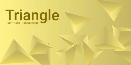 Abstract composition of  triangle. Creative geometric background.  3D vector illustration . Yellow  three-dimensional  geometric triangle in space. Illustration