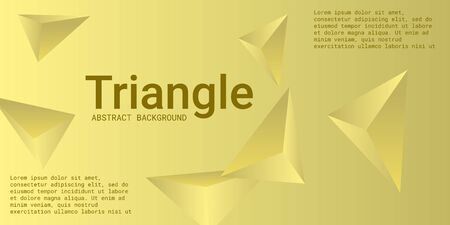 Triangle background. Abstract composition of triangular crystals. 3D vector illustration . Futuristic geometric background.  Yellow  three-dimensional  triangular crystals in space.