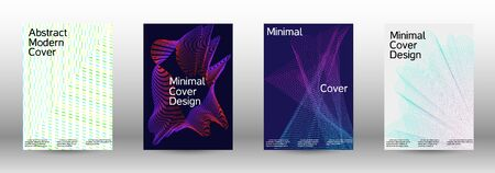 Minimum coverage of a vector. A set of modern abstract backgrounds with abstract gradient linear waves. Vector sound flyer for creating a fashionable abstract cover, banner, poster, booklet.