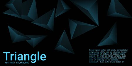 Triangular background. Abstract composition of 3d triangles. 3D vector illustration . Futuristic geometric background.  Turquoise  three-dimensional triangle in space.