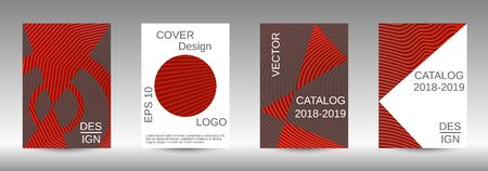 Stylish brochure design template set.  Abstract cover. Positive design template. Creative backgrounds with abstract gradient linear waves to create a fashionable  banner, poster. 向量圖像