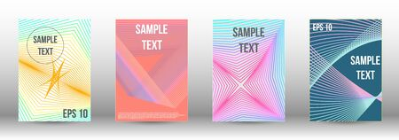 Cover design template set. Abstract cover. Positive design template. Creative backgrounds with abstract gradient linear waves to create a fashionable  banner, poster. 向量圖像