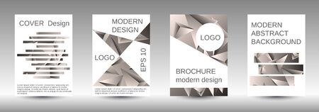 Minimum vector coverage. A set of modern abstract covers. Creative beige triangle element vector. Geometric booklet cover template design. Illusztráció