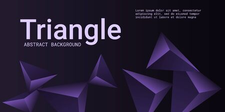 Triangular background. Abstract composition of 3d triangles. Futuristic geometric background.  3D vector illustration . Violet  three-dimensional triangle in space.