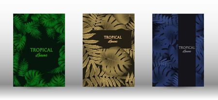 Tropic covers set.  Tropical leaves banners background. Summer graphic background. Modern Front Page in Vector Illusztráció