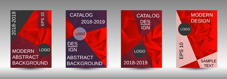 Modern design template. A set of modern abstract covers. Creative red triangle element vector. Geometric booklet cover template design.  イラスト・ベクター素材
