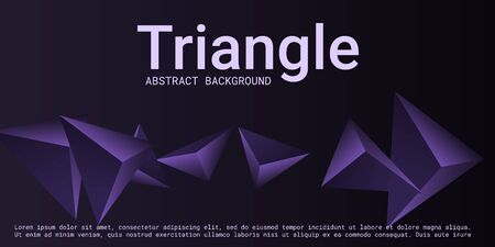 Abstract composition of  triangle. 3D vector illustration . Futuristic geometric background.  Violet  three-dimensional  geometric triangle in space.