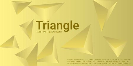 Triangular background. Abstract composition of 3d triangles. 3D vector illustration . Minimal geometric background.  Yellow  three-dimensional triangle in space. Illustration