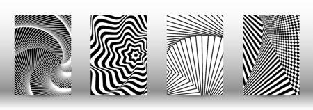Optical contrast. Set of abstract patterns with distorted lines. Black and white striped psychedelic background. Abstract vector illustration.You can use for design covers, cards,posters. Ilustração