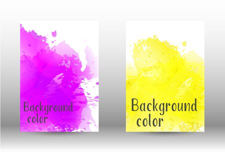 Design cover with a picture of watercolor spray. A set of rectangular objects for the design of a cover, a poster, a banner, a notebook, an album. Vector. EPS 10. Illustration