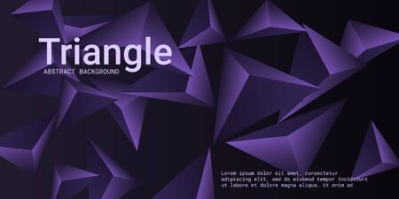 Abstract composition of  triangle. 3D vector illustration . Minimal geometric background.  Violet  three-dimensional  geometric triangle in space.