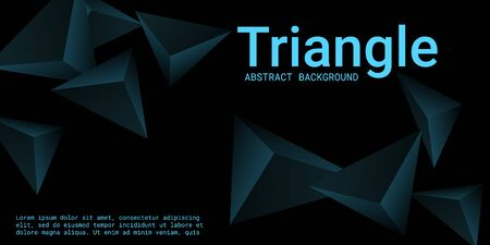 Triangle background. Abstract composition of triangular pyramids. Creative geometric background.  3D vector illustration . Turquoise  three-dimensional triangular pyramids in space. Illustration