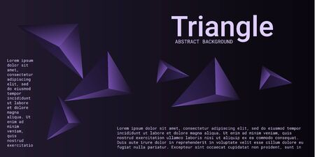 Abstract composition of  triangle. Minimal geometric background.  3D vector illustration . Violet  three-dimensional  geometric triangle in space.
