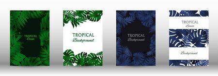 Tropic covers set.  Tropical leaves banners background. Exotic botanical design. Modern Front Page in Vector Illusztráció