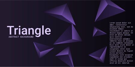 Triangular background. Abstract composition of 3d triangles. 3D vector illustration . Futuristic geometric background.  Violet  three-dimensional triangle in space.