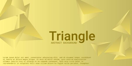 Triangle background. Abstract composition of triangular crystals. Minimal geometric background.  3D vector illustration . Yellow  three-dimensional  triangular crystals in space.