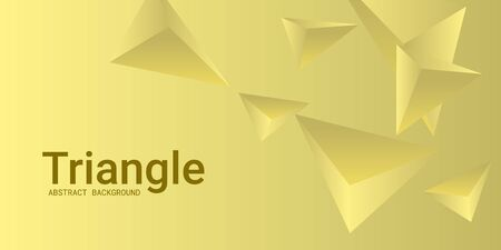 Triangle background. Abstract composition of triangular pyramids. 3D vector illustration . Minimal geometric background.  Yellow  three-dimensional triangular pyramids in space. Illustration