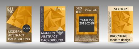 Modern design template. A set of modern abstract covers. Creative yellow triangle element vector. Geometric booklet cover template design.
