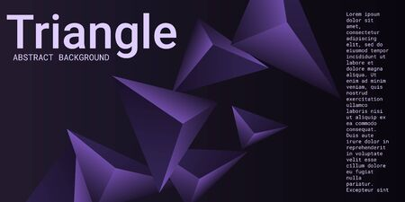Triangle background. Abstract composition of triangular crystals. 3D vector illustration . Modern geometric background.  Violet  three-dimensional  triangular crystals in space. Illustration