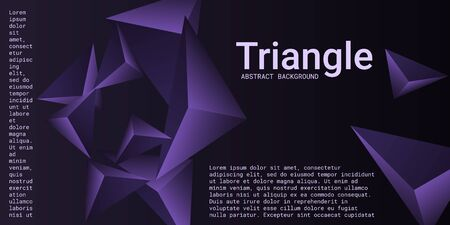 Triangle background. Abstract composition of triangular pyramids. 3D vector illustration . Modern geometric background.  Violet  three-dimensional triangular pyramids in space.