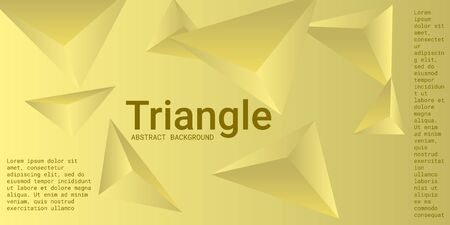 Abstract composition of  triangle. 3D vector illustration . Minimal geometric background.  Yellow  three-dimensional  geometric triangle in space.